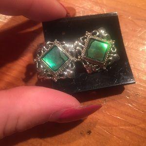 Vintage Sterling Silver Earrings w/ beautiful gems